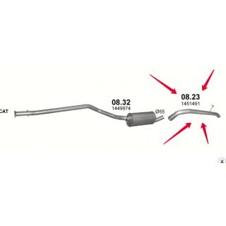 Труба вихлопная Ford Transit Connect 1.8 TDCi, код 08.23